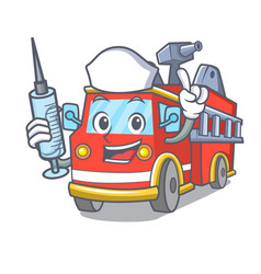 Nurse fire truck character cartoon vector