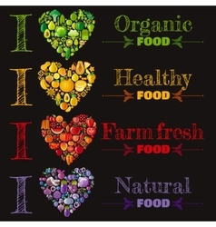 Organic food banner set template heart icons vector