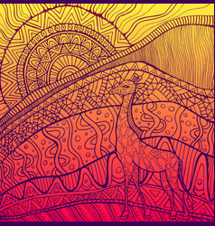 ornamental giraffe and sun and african landscape vector image