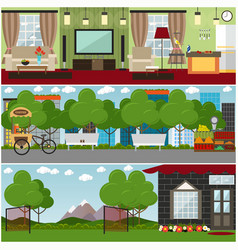 people and relations interior concept flat vector image