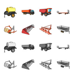 Plow combine thresher trailer and other vector