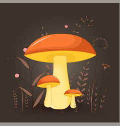 postcard with mushrooms suillus on a floral vector image