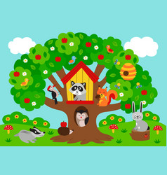 poster tree with forest animals vector image