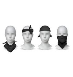 Realistic black bandana handkerchief or buff on vector