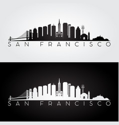 San francisco usa skyline and landmarks silhouette vector