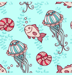 seamless pattern with jellyfish and fish vector image