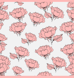 seamless pattern with pink roses on grey vector image