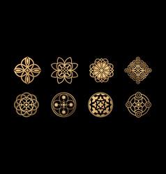 Set collection arabic floral border vector