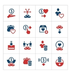 Set color icons of charity and donate vector image