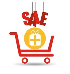 Shopping cart sale gift box icon vector