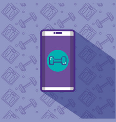 smartphone with fitness app vector image