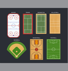 sport fields and courts top view vector image