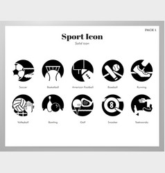 sport icons solid pack vector image