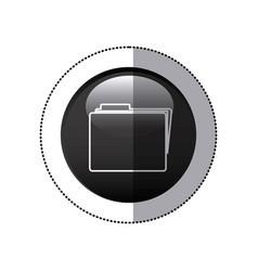 Sticker black circular frame with folder icon vector