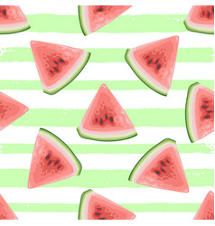 summer pattern with watermelon slices vector image