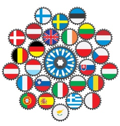 the work eu in form gears vector image