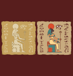 Tiles with egyptian goddess bastet and hieroglyphs vector