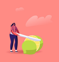 Tiny female character cutting huge lime with knife vector