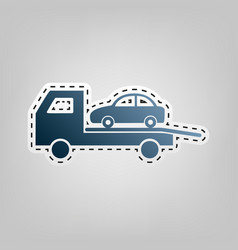 tow car evacuation sign blue icon with vector image