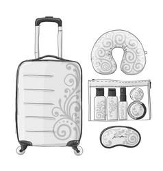 Travel set mockup sketch for your design vector