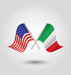 two crossed american and italian flags on stick vector image