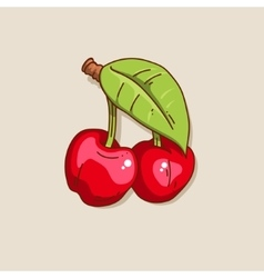 Two cute hand-drawn cherry vector