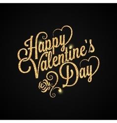valentines day vintage lettering golden background vector image