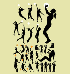 volleyball and basketball silhouette vector image