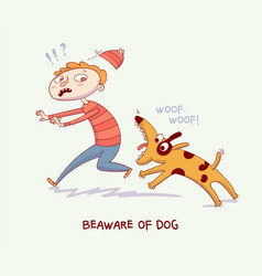 Warning beaware of dog dog bite man vector