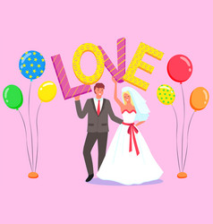 wedding celebration bride and groom photozone vector image