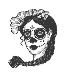 Woman with dead makeup engraving vector