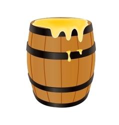 Wooden barrel with honey vector image