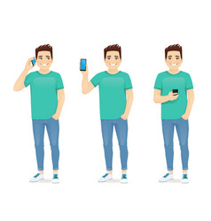 Young man with phone vector