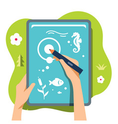 drawing on a tablet flat style colorful vector image