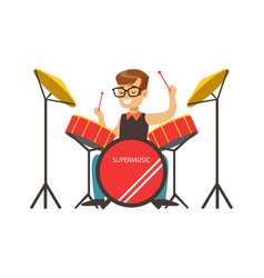 little boy playing drums little drummer colorful vector image vector image