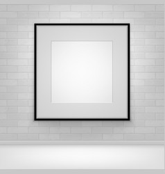 mock up poster picture black frame on brick vector image
