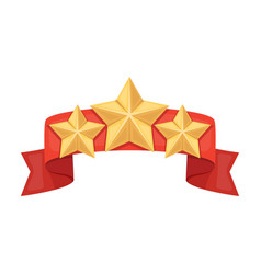 red ribbon with three starsreward a police vector image