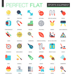 set of flat sport equipment icons vector image vector image