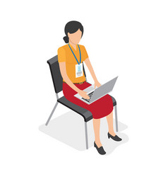 woman character with laptop isolated vector image