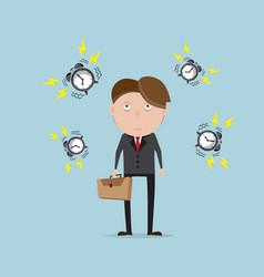 businessman tried with alarm clock cartoon vector image