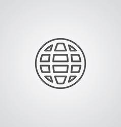 globe outline symbol dark on white background logo vector image vector image