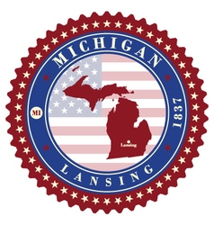 Label sticker cards of state michigan usa vector