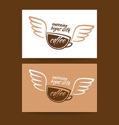 morning begins with coffee cup vector image