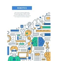 Robotics - line design brochure poster template A4 vector image vector image