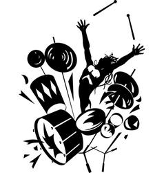 Rock drummer silhouette vector image vector image