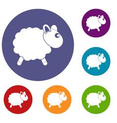 Sheep icons set vector