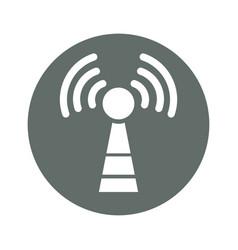 Wifi antenna round icon vector