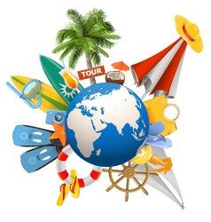Beach Concept with Globe vector image vector image