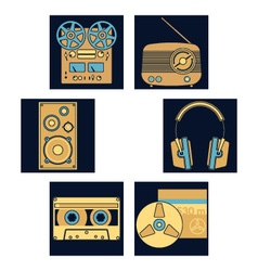 Dark blue music icons vector image