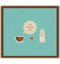 Retro valentines card with coffee and milk vector